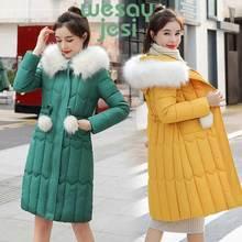 -20 degrees Winter Women long parkas jackets thick warm big fur collar female chic parkas coat female winter outwear plus size цены онлайн