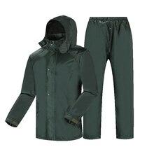 Waterproof Thick Raincoat Suit Jacket Pants PVC Motorcycle Men Raincoat Women Poncho Traje Lluvia Moto Rainwear Rain Gear AD50RC