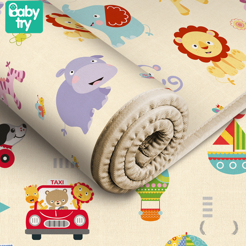Waterproof Crawling Mat Toddler Floor Rug Pad Soft Toys Cartoon Room Carpet Decor Home Kids Playmat Mat For Baby Double-sided