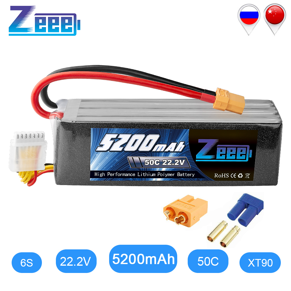Zeee RC <font><b>LiPo</b></font> Battery 50C <font><b>5200mAh</b></font> 22.2V <font><b>6S</b></font> XT90 <font><b>LiPo</b></font> Battery with XT60 EC5 For RC Helicopter Car Boat Airplane Quadcopter FPV image
