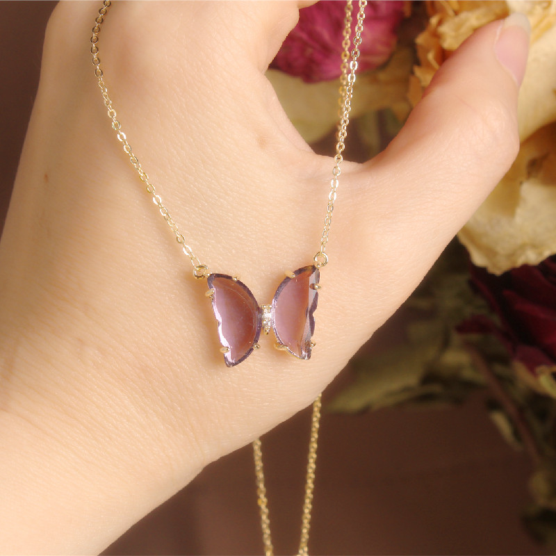 2020 Korean New Design Fashion Jewelry Exquisite Butterfly Purple Glass Pendant Necklace Elegant Female Clavicle Necklace
