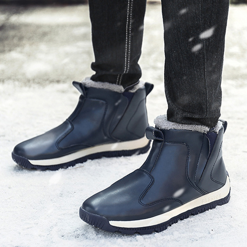 Waterproof Snow Boots Men Winter Shoes Pu Leather Men Ankle Boots Warm Plush For Cold Winter Footwear Male Booties KA1881