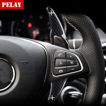Palas de cambio de volante de fibra de carbono para mercedes-benz AMG A45 CLA CLS GLA GLE GLS SL63, accesorios para coche