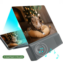 12 inch 3D Mobile Phone Screen Magnifier with Bluetooth Speaker HD Magnifying Glass Stand for Video Screen Enlarged Phone Holder