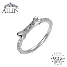 AILIN Personalized Dog Bone Shape Rings For Women 925 Sterling Silver Custom Engrave Name Ring Dainty Pet Paw Ring Puppy Jewelry