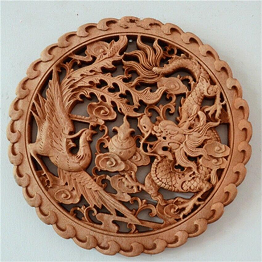 Dragon chinois sculpté à la main et phénix de bon augure camphre bois planche ronde sculptures murales chance décoration de la maison Boutique cadeau