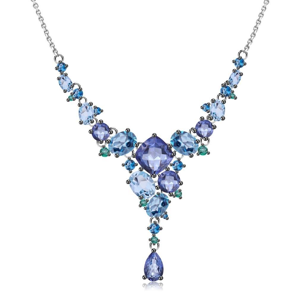 GEM'S BALLET 925 collier géométrique fait à la main en argent Sterling collier de luxe en topaze de Quartz naturel pour les femmes de mariage bijoux fins-in Colliers from Bijoux et Accessoires    1