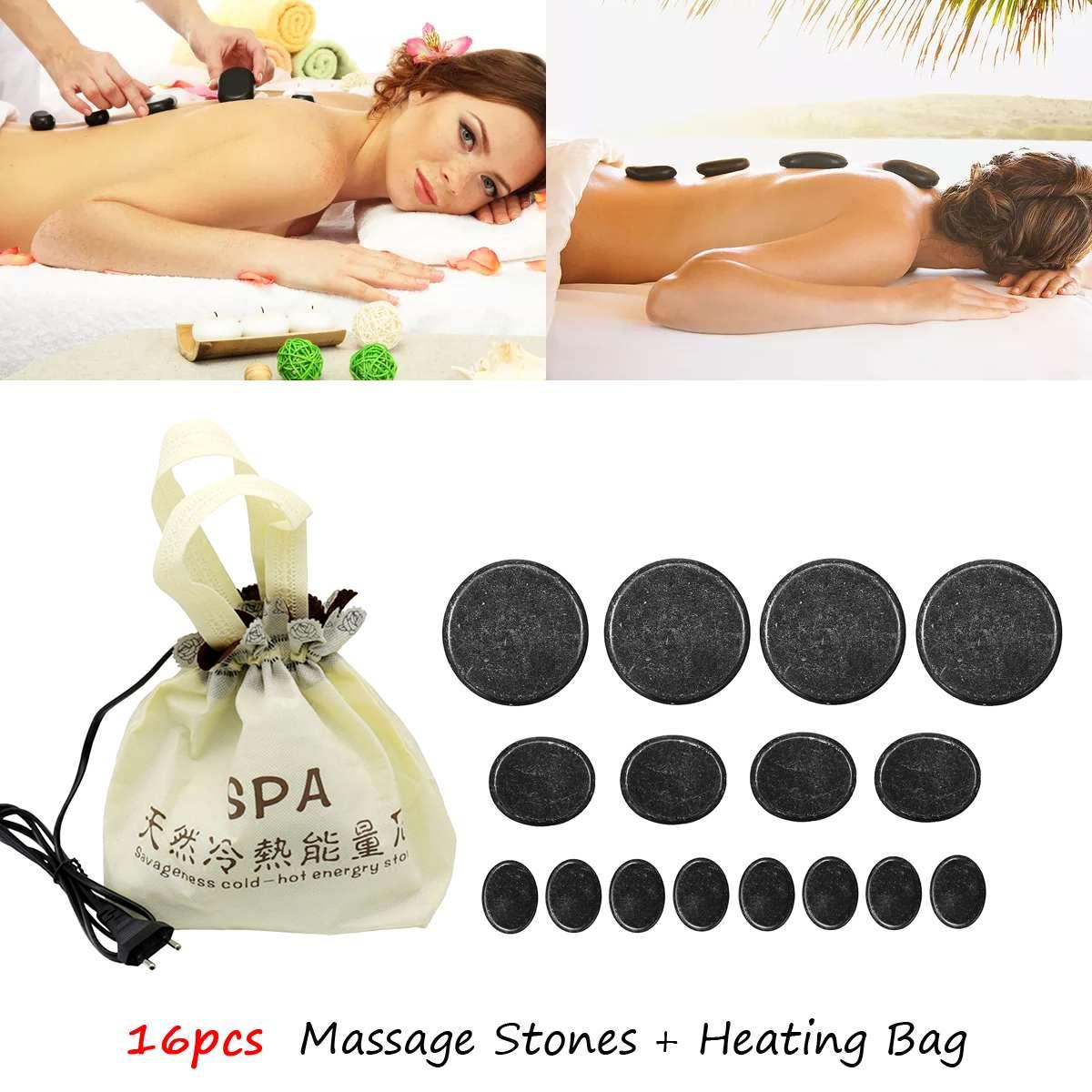 16 шт. горячий камень массаж Лава натуральные энергетические камни для спа массажа набор камни для спа рок с нагревателем мешок 220 в EU Plug