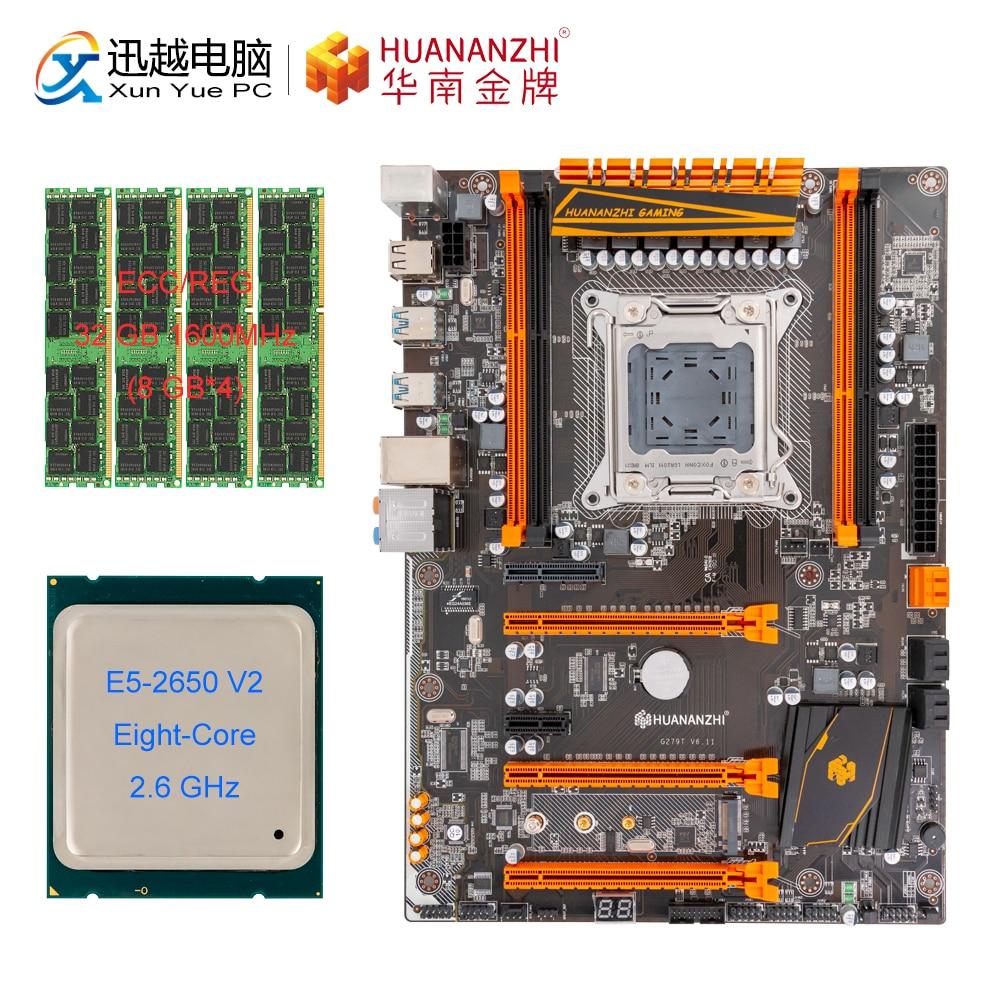 HUANAN ZHI X79 DELUXE Motherboard M.2 NVME ATX Set With Intel Xeon E5 2650 V2 2.6GHz CPU 4*8GB (32GB) DDR3 1600MHZ RECC RAM