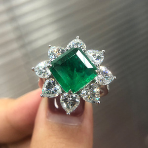 Image 4 - PANSYSEN Exquisite Luxury 10MM Square Emerald Rings for Women Female Anniversary Cocktail Party Ring Diamond Fine Jewelry Gifts