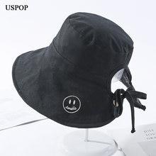 Uspop 2020 новинка на шнуровке Панама шляпы милый бант хлопок