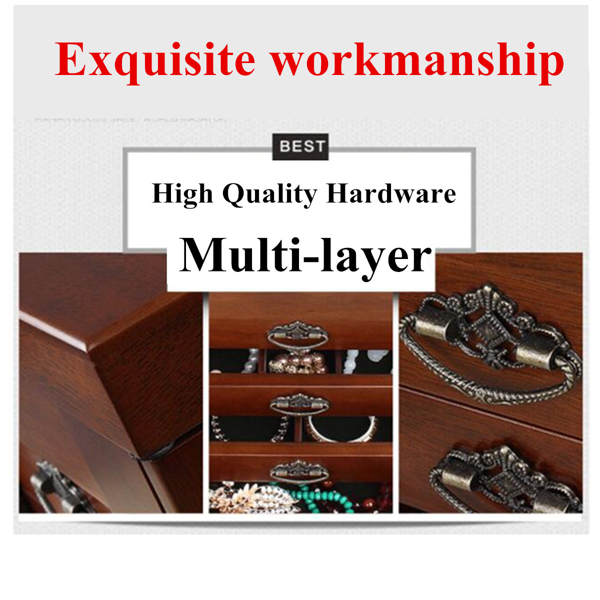Large Multi Layer Retro Wooden Jewelry Box Luxury Jewelry Display Tray Holder Casket Earrings Ring