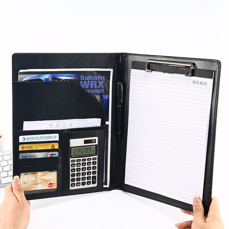 A4 PU File Folder Multifunctional Document Bag With Calculator Organizer Manager Document Pads Meeting Briefcase Office Supplie