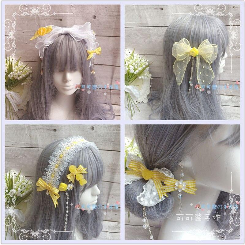 Lemon Yellow Side Clip Kc Soft Girl Japanese-style Handmade Hair Accessories Lolita Loli Barrettes Hair Band Headdress