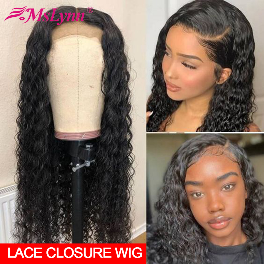 Water Wave Wig Lace Closure Wig Brazilian Hair Curly Human Hair Wig Lace Front Human Hair Wigs Mslynn Remy Hair