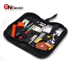Черный складной гитарный бас набор инструментов сумка 20*10*5 см с струнным мотором Отвертка Держатель для гитары линейка аксессуары для гита...