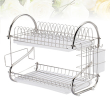 Stainless Steel Dish Drain Rack Double Layer Storage Stand Practical Kitchen Storage Shelf for Home (Silver)