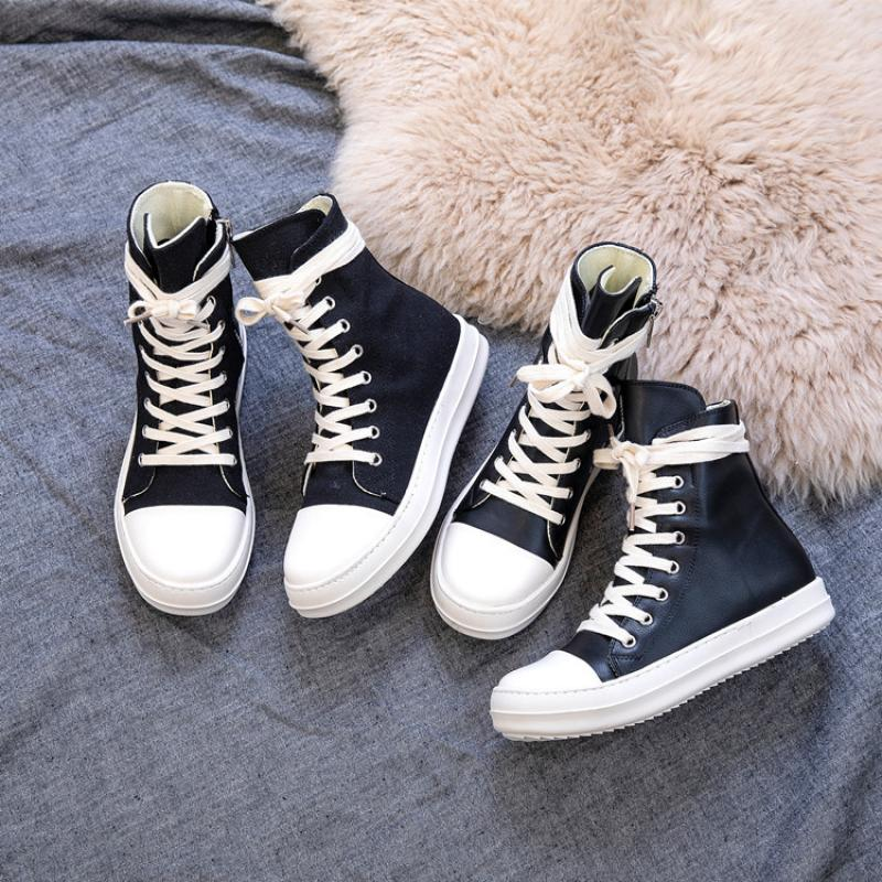 SWYIVY 44 Chaussure Femme Women Sneakers Zipper Canvas Casual Shoes Woman Spring 2020 Fashion Women Black Sneakers Ladies Shoe