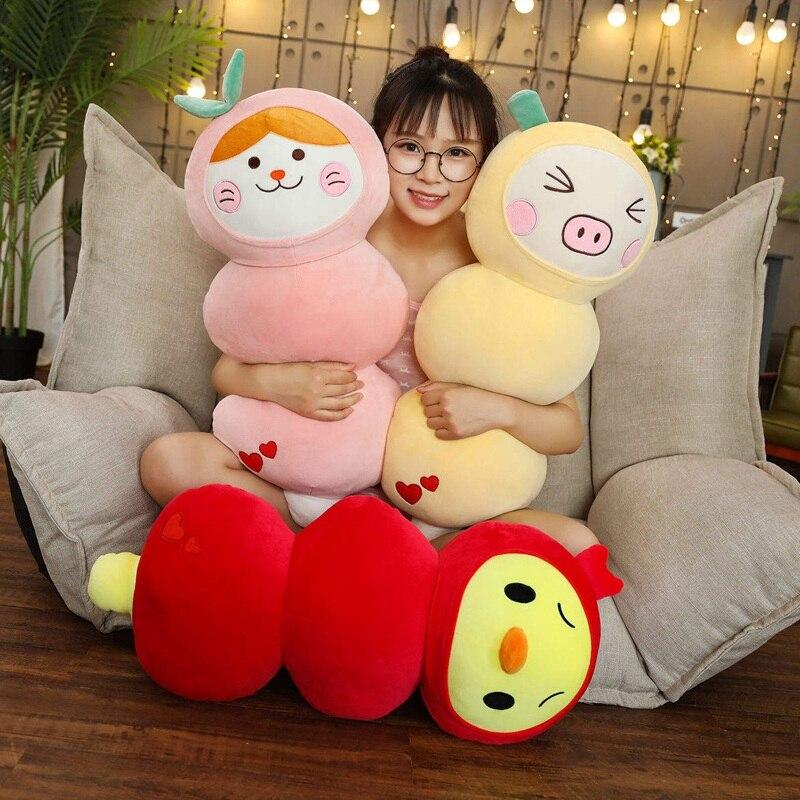 80cm Funny Simulation Apple Chicken&Lemon Pig Plush Toy Soft Cartoon Animal Strawberry Cat Stuffed Doll Candied Fruit Girl Gift