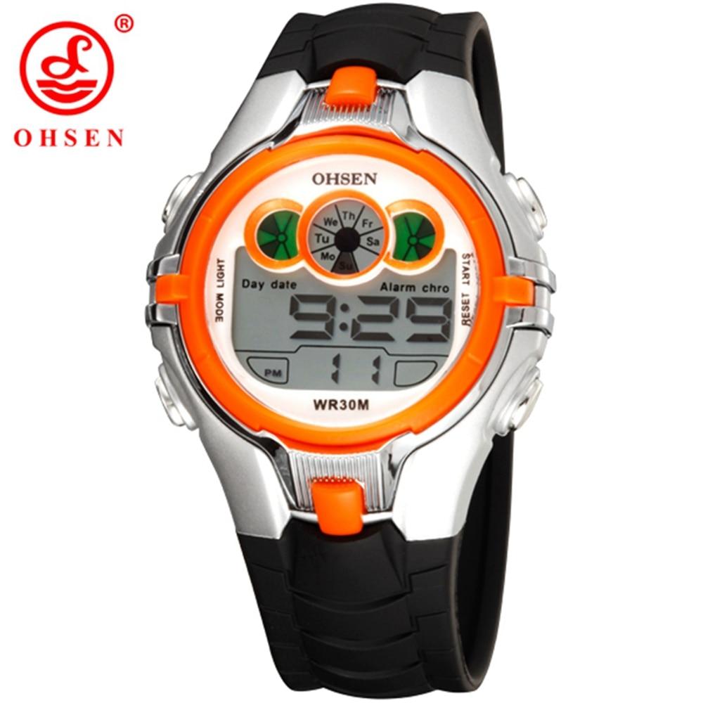 Children Kids Digital Watch Stopwatch OHSEN Clock Orange LED Electronic Sport Watches 50M Waterproof Wristwatch For Boys Girls