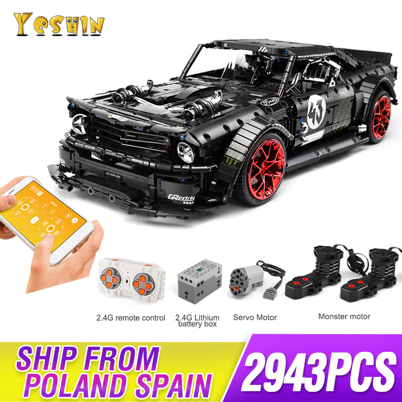 DHL 1965 Ford Mustang Hoonicorn Racing Car Technic MOC-22970 FIT Lepining 20102 Building Block Bricks Kid Toys Christmas Gifts