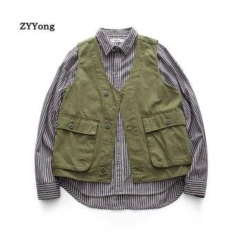 цена Multiple Pockets Cargo Vest Hip Hop Vest Men Dad Vest Sleeveless Jacket Gilet Men's Vest Streetwear онлайн в 2017 году