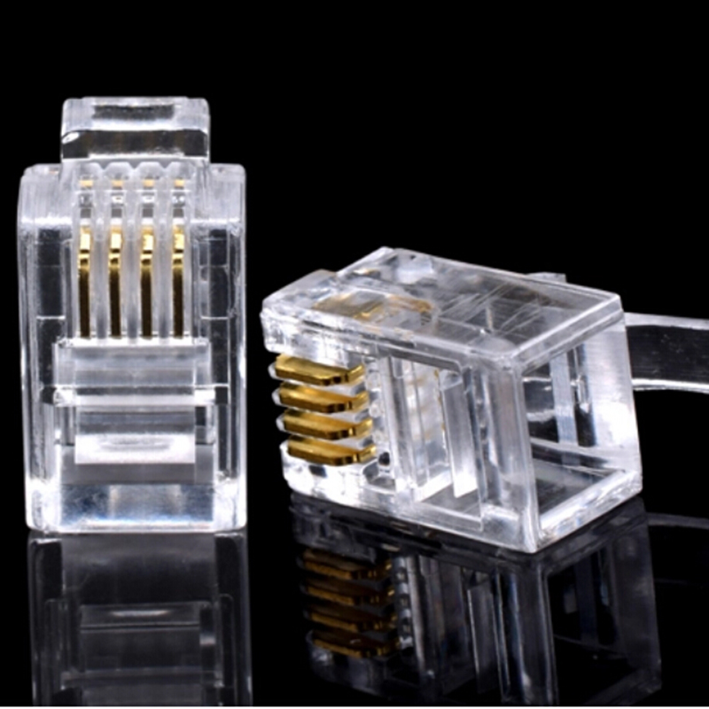 100PCS 4P4C 4 Pins 4 Contacts Telephone Modular Plug Jack Connectors Crystal Head Ethernet Cable Plugs Heads Connectors