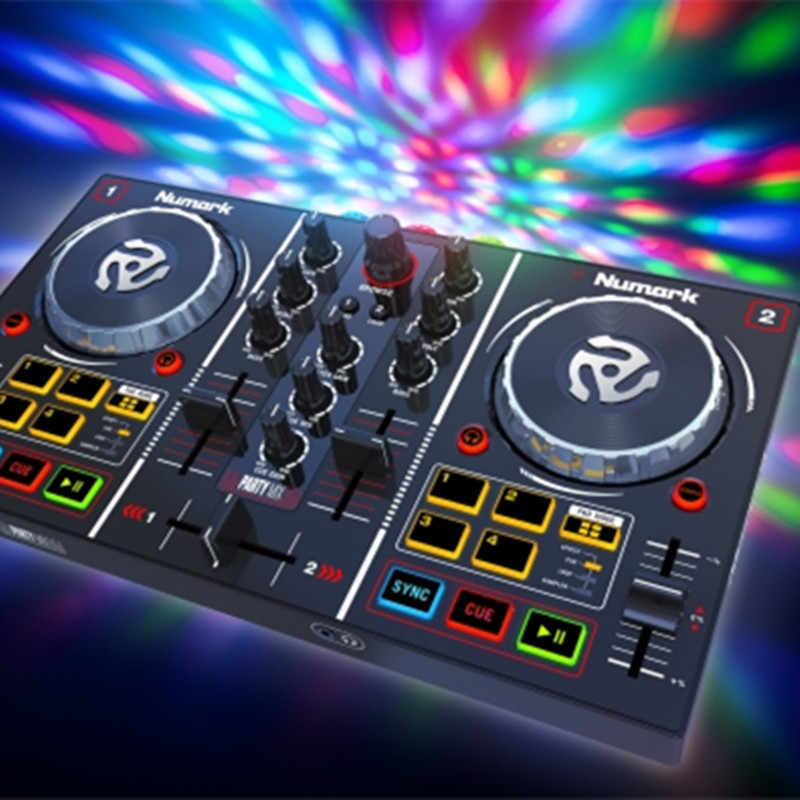 Profissional de áudio placa de som dj controlador disc player digital regulador mixing djing monitor cd cor luz pc máquina
