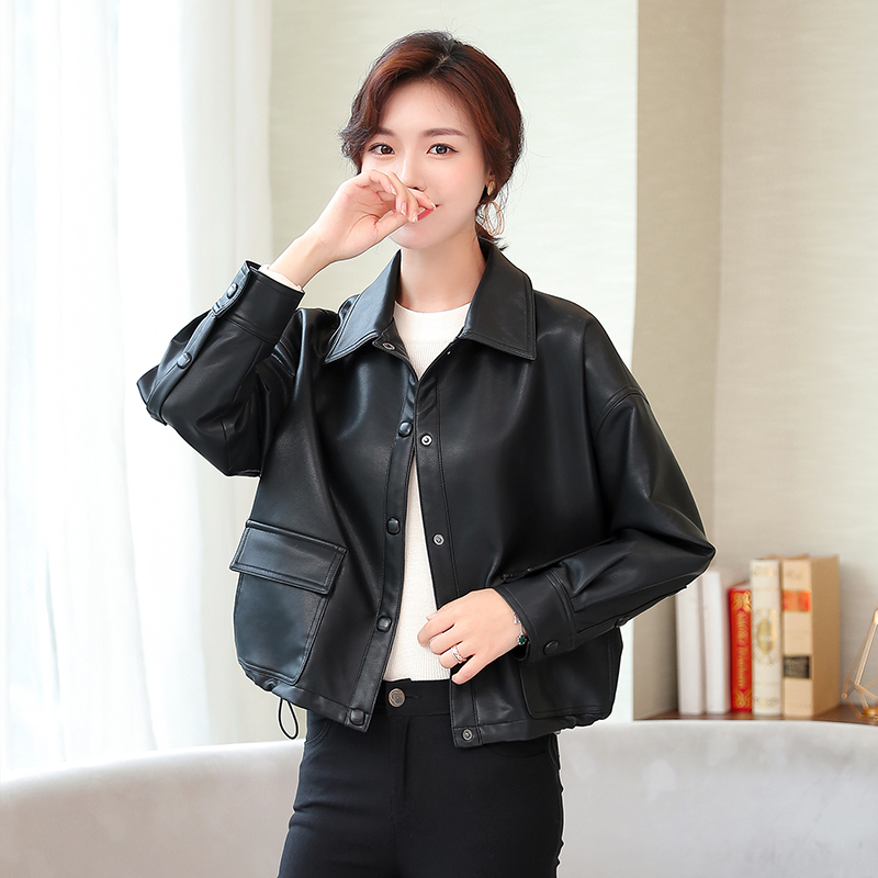 2019 new   leather   jacket motorcycle women large size women's clothing fashion black   Leather   jacket female short loose
