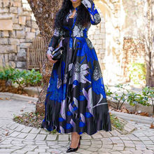 Spring autumn women vintage floral printed long sleeve maxi