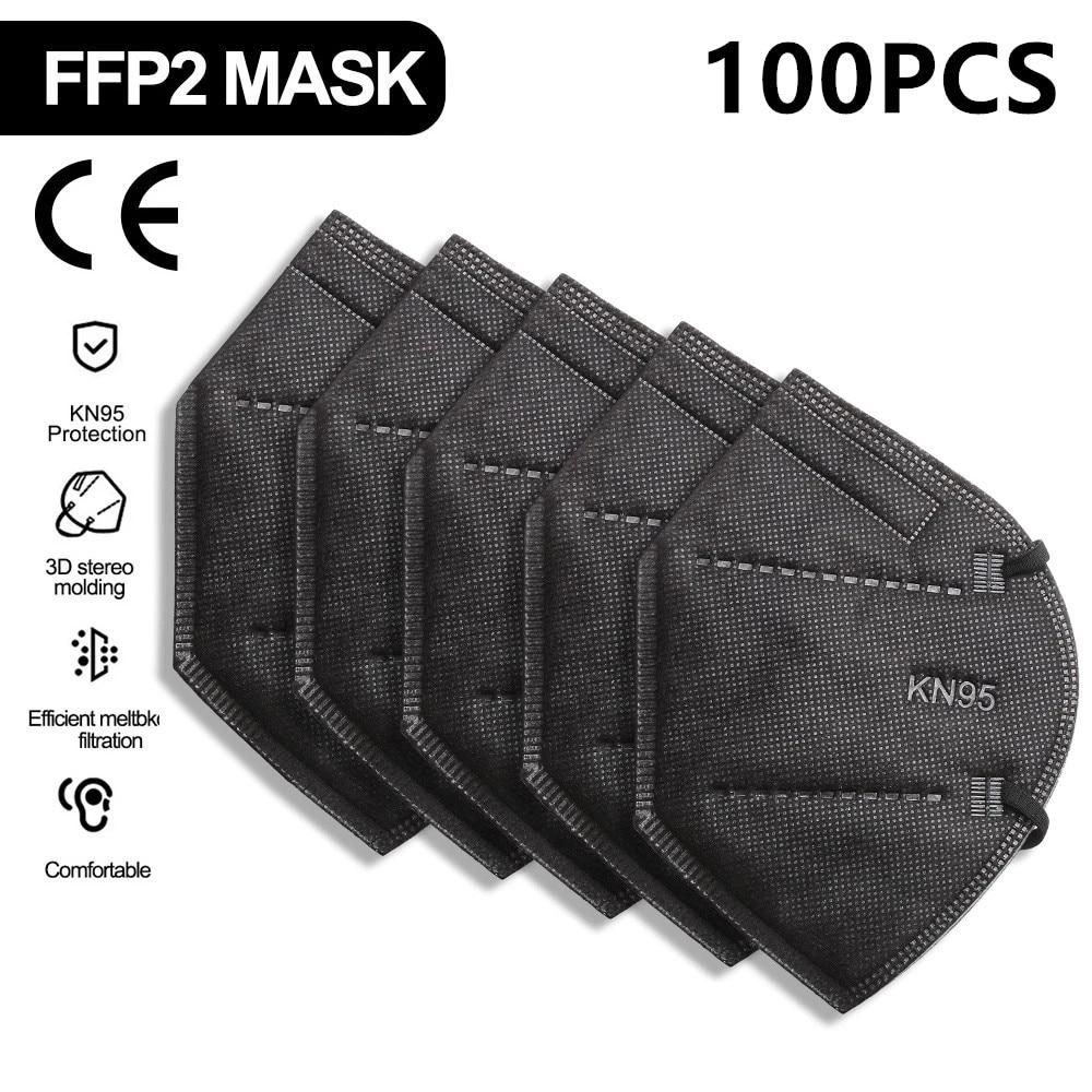 100pcs Black 5 Layers FFP2 Mask Adult Individual KN95 FFP2 Mascarillas Non-Woven Fabric FFP2 Masque Reutilizable Mascherine