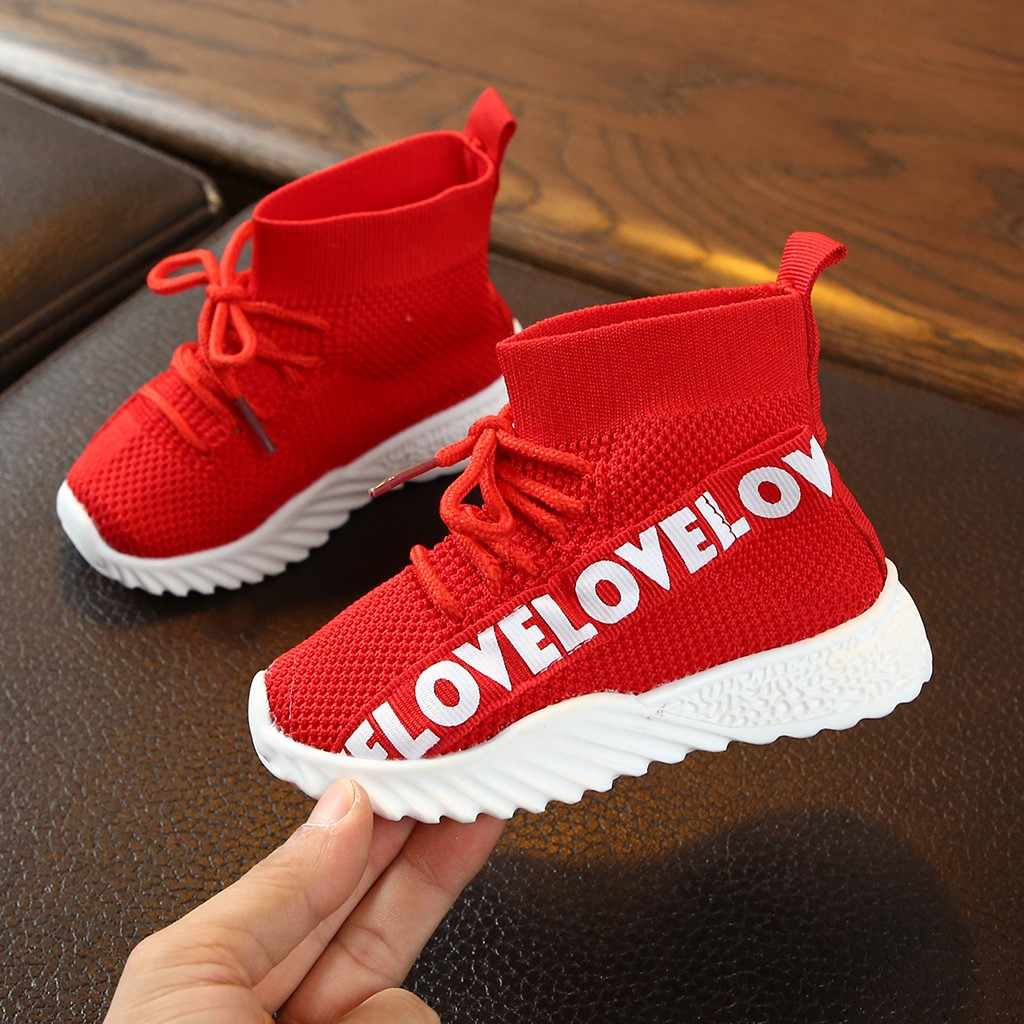 ChildrenKids Baby Girls Boys Letter Stretch Run Sneakers Sport Shoes Boots детская обувь kids shoes children shoes sneakers