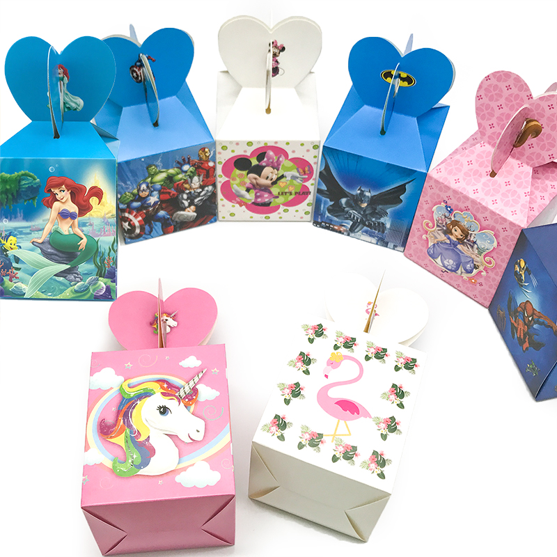 6pcs Cartoon Candy Boxes Kids Birthday Party Decoration Paper Gift Boxes Baby Shower Supplies Favors Packaging Box Unicorn