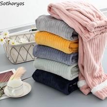 Home-Wear Velvet Sleep-Bottoms Flannel Warm Plus Women Cute Winter Solid Soft with Pockets