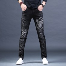 Free Shipping New Male fashion men's jeans Embroidered Print