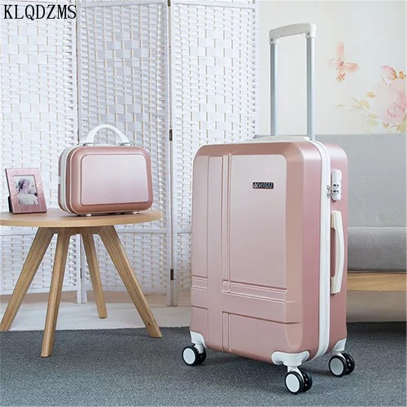 KLQDZMS ABS 20''24 Inch Women Trolley Luggage Bag Set Travel Suitcase On Wheels Spinner Rolling Valise With Cosmetic Bag