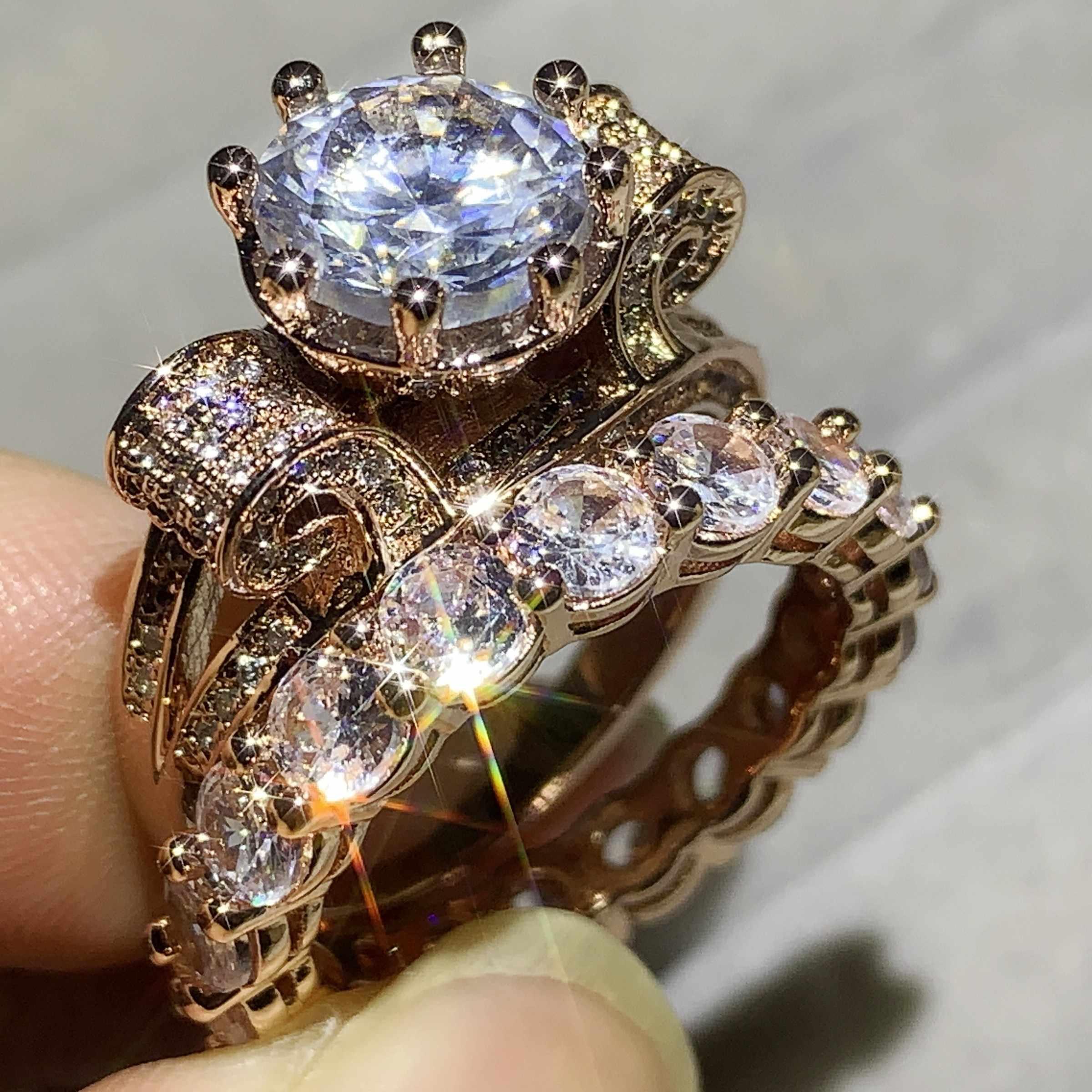 זוג טבעות מכירה לוהטת 2PCS יוקרה תכשיטי 925 כסף סטרלינג & רוז זהב למלא עגול לחתוך 5A מעוקב זירקון כלה נשים טבעת סט