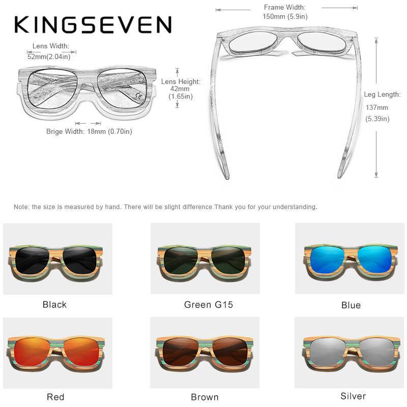 KINGSEVEN 2020 rétro bambou lunettes de soleil hommes femmes polarisé miroir UV400 lunettes de soleil plein cadre bois nuances lunettes à la main