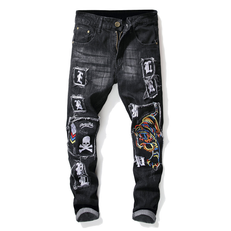 Autumn And Winter Men Hole & Patch Jeans Men Embroidered Pencil Pants Pants Men's Elasticity Badge Fashion Pants Men's Ozhouzhan