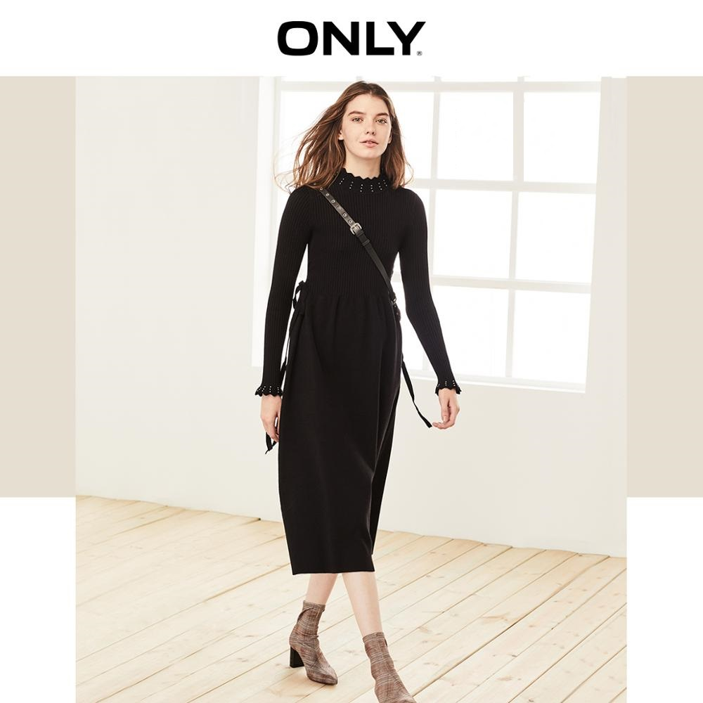 ONLY Women's Cinched Waist Lace-up Knitted Dress | 119346527
