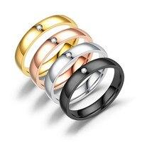 Anillo de compromiso de CZ de 4mm para mujer, sortija de acero inoxidable, Color negro/rosa/dorado/plateado, para chica, talla US 5 6 7 8 9 10 11 12
