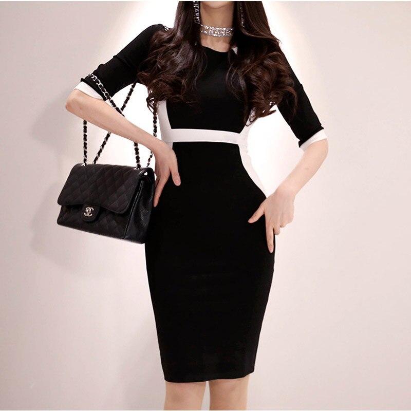 BacklakeGirls Women Summer Wear Black And White Spelling Color High Waist Shealth Dress Elegant Office Dress