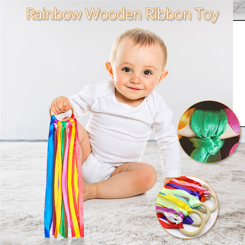 Baby Shower Gift Girl Boy Rainbow Wooden Sensory Ribbon Ring Baby Toy Hanging Gift #30D12