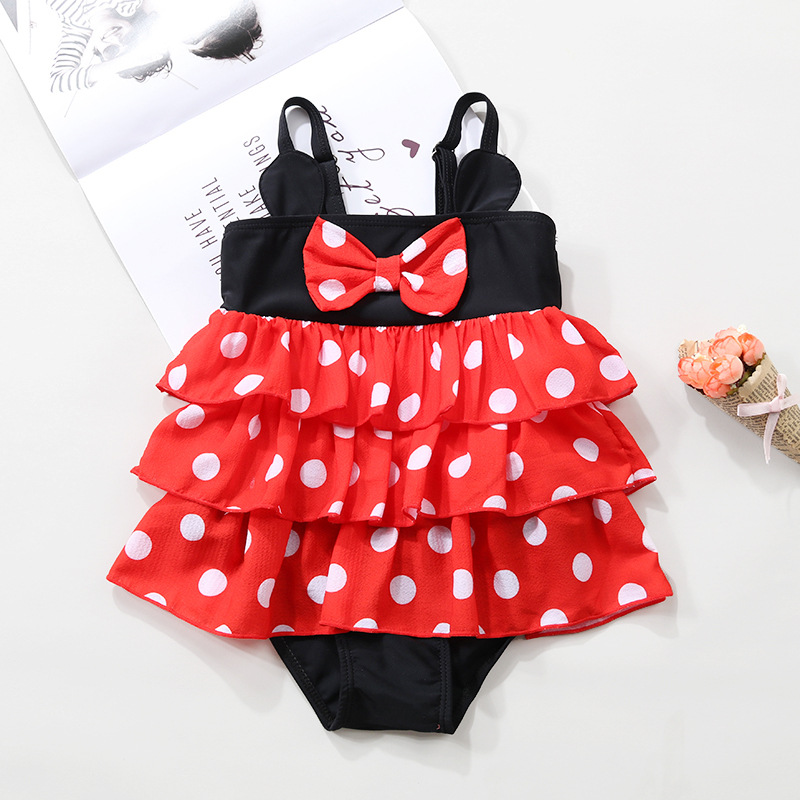 2019 Foreign Trade New Style GIRL'S KID'S Swimwear Small CHILDREN'S Baby Cute Minnie Polka Dot Princess Cake Dress-Swimwear
