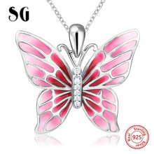 цена 100% 925 sterling silver cute butterfly charms pendant chain necklace with red enamel diy fashion jewelry making for women gifts