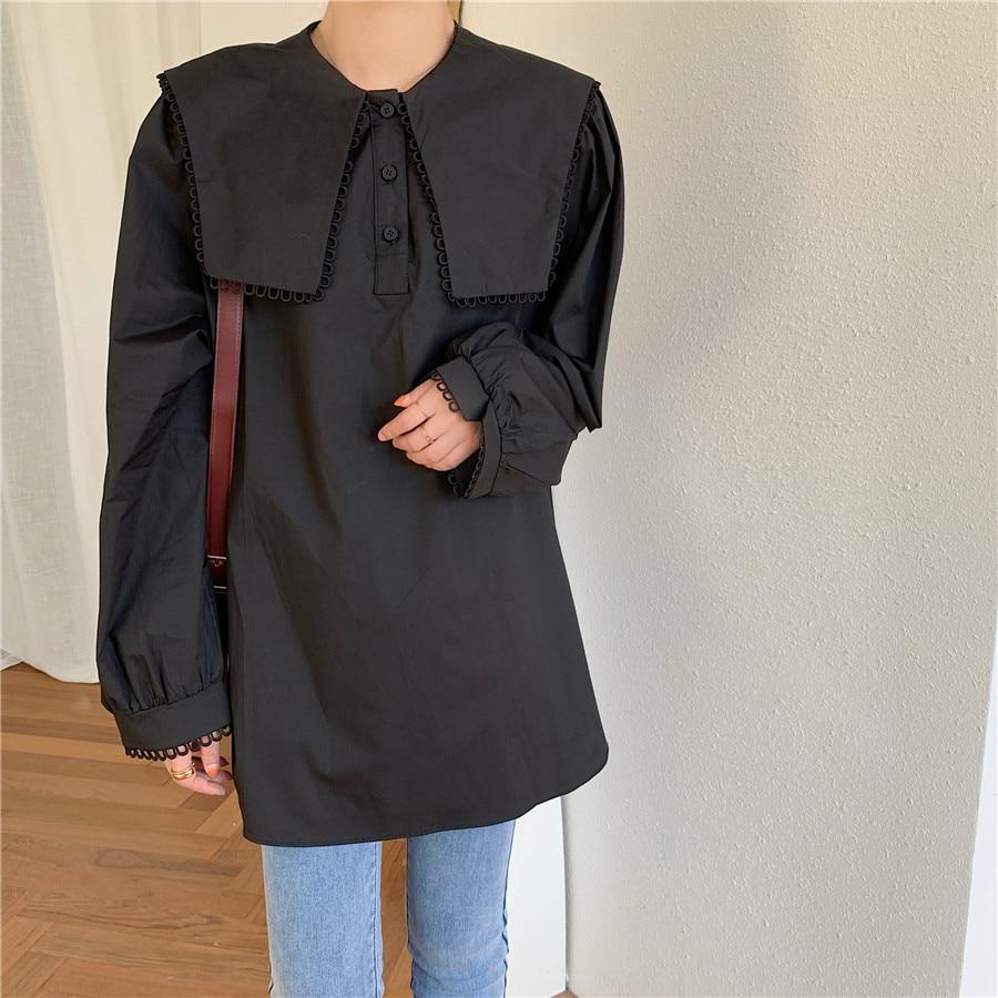 H2a42a374800343df86434b38135c8d21F - Spring / Autumn Puritan collar Long Sleeves Solid Blouse