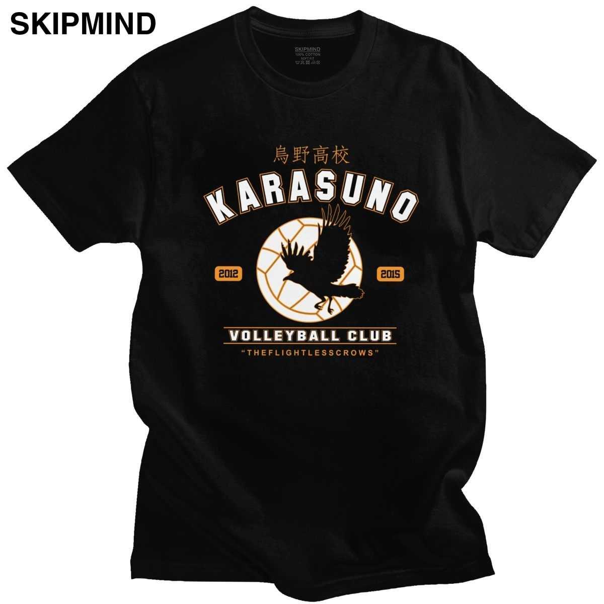 Moda męska Haikyuu Karasuno siatkówka klub orzeł T koszula z krótkim rękawem bawełniana koszulka letnia japońska Manga T-shirt prezent