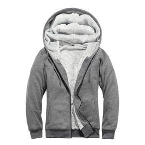 Image 5 - Brand Mens Fur Lined Hoodies Wool Warm Sweatshirts Autumn Winter Fleece Coats Sportswear 2019 Men Hoodie Outerwear Euro Size