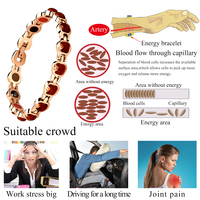Fashion Silver Gold Rose Color 316L Stainless Steel Bio Magnetic Negative ions Bracelet Health Energy Bracelet For Elegant Women