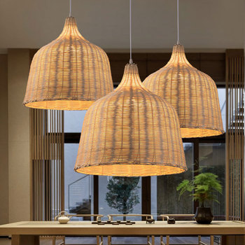 Southeast Asian Rattan Pendant Lights Vintage Chinese Style Weaving Bamboo Hanging Lamp Restaurant Bar Cafe Home Light Fixtures